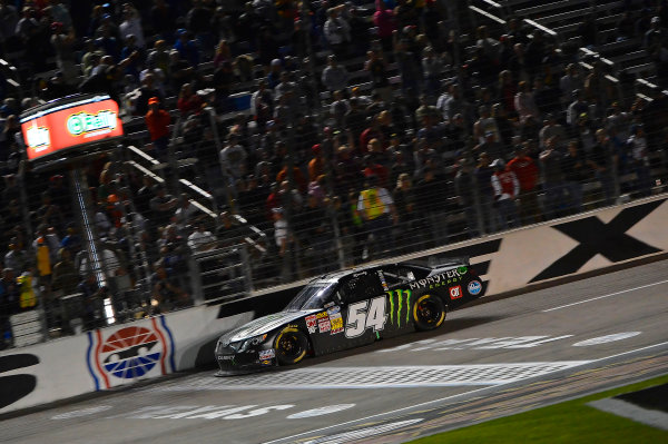 April 11-12, 2013 Fort Worth, Texas USA Kyle Busch, Monster Energy Toyota Camry takes the checkered flag © 2013, Brian Czobat LAT Photo USA .