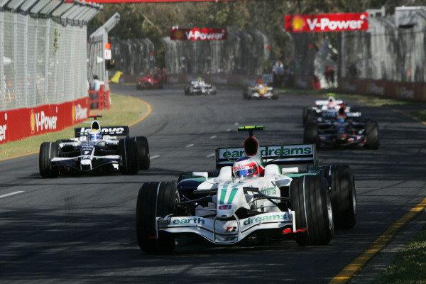 Rubens Barrichello (BRA) Honda RA108. Australian Grand Prix, Rd 1, Race, Albert Park, Melbourne, Australia, Sunday 16 March 2008.