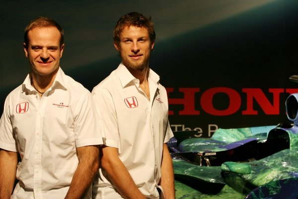 Rubens Barrichello (BRA) Honda Racing F1 Team and Jenson Button (GBR) Honda Racing F1 Team 