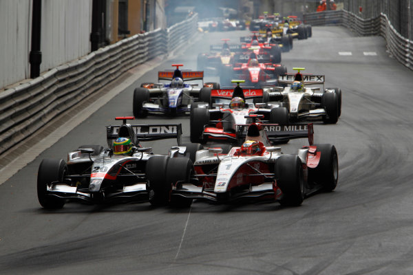 Monte Carlo, Monaco. 15th May 2010. Saturday Race.Alberto Valerio (BRA, Scuderia Coloni) and Jules Bianchi (FRA, ART Grand Prix). Action. Photo: Glenn Dunbar/GP2 Media Service.Ref: _G7C0468 jpg