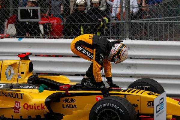 Monte Carlo, Monaco. 15th May 2010. Saturday Race.Jerome D'Ambrosio (BEL, Dams) celebrates his victory. Photo: Andrew Ferraro/GP2 Media Service.Ref: _MG_5472 jpg