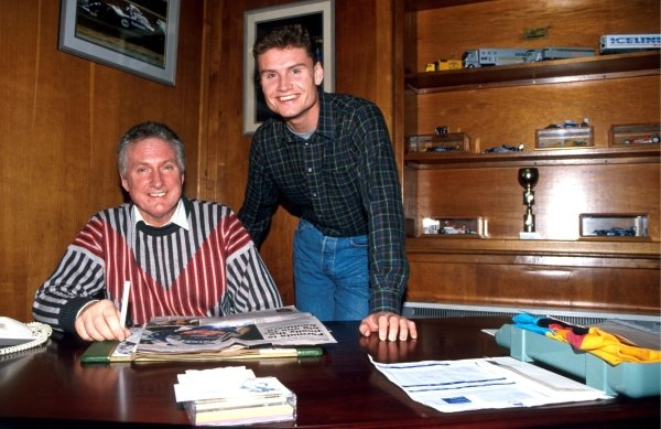 David Coulthard (R) at home with his father (L)