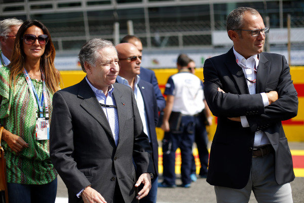 (L to R): Jean Todt (FRA) FIA President and Stefano Domenicali (ITA)  on the grid. Formula One World Championship, Rd13, Italian Grand Prix, Monza, Italy, Race Day, Sunday 7 September 2014.