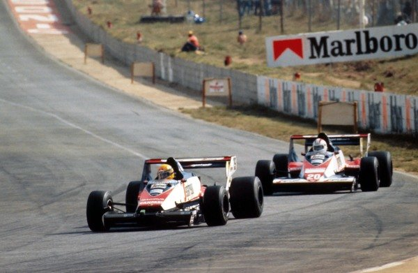 Ayrton Senna (BRA), Toleman TG183B, 6th, leads teamate Johnny Cecotto (VEN), DNF