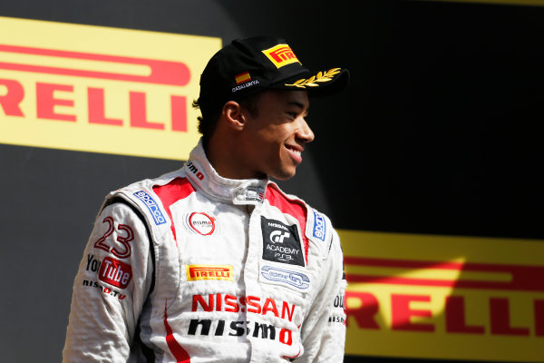 2015 GP3 Series Round 1. Circuit de Catalunya, Barcelona, Spain. Sunday 10 May 2015. Podium. Jann Mardenborough, (GBR, Carlin). Photo: Zak Mauger/GP3 Series Media Service. ref: Digital Image _L0U5357