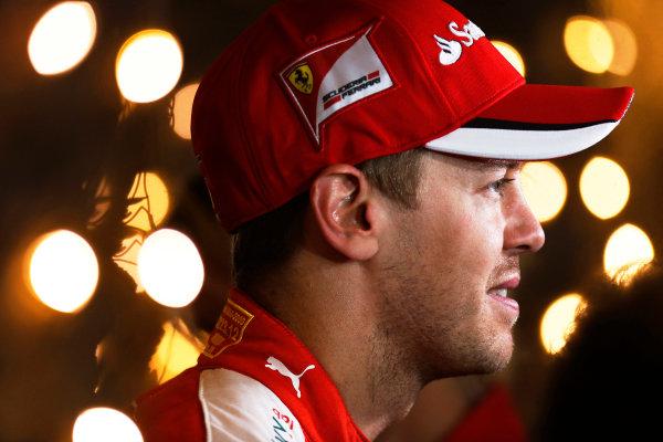Bahrain International Circuit, Sakhir, Bahrain. Saturday 18 April 2015. Sebastian Vettel, Ferrari. World Copyright: Alastair Staley/LAT Photographic. ref: Digital Image _79P6738