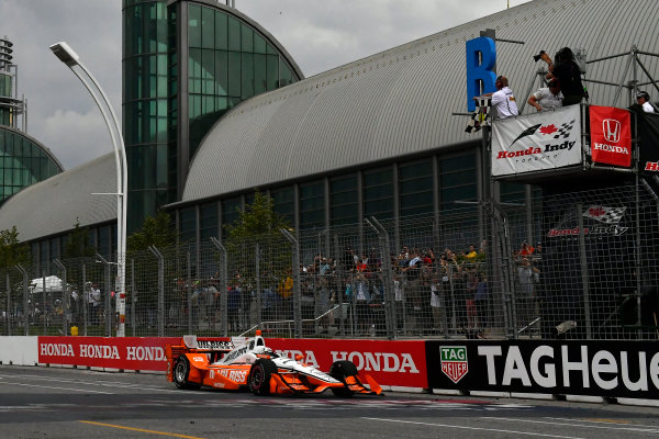 Verizon IndyCar Series Honda Indy Toronto Toronto, ON CAN Sunday 16 July 2017 Josef Newgarden, Team Penske Chevrolet crosses the finish line under the checkered flag for the win World Copyright: Scott R LePage LAT Images ref: Digital Image lepage-170716-to-5101