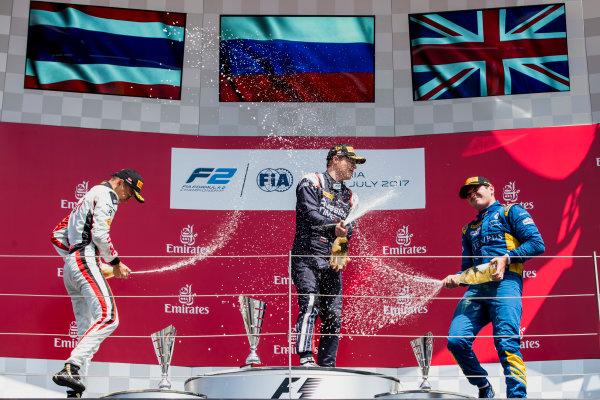 2017 FIA Formula 2 Round 5. Red Bull Ring, Spielberg, Austria. Sunday 9 July 2017. Alexander Albon (THA, ART Grand Prix), Artem Markelov (RUS, RUSSIAN TIME) and Oliver Rowland (GBR, DAMS).  Photo: Zak Mauger/FIA Formula 2. ref: Digital Image _54I0360