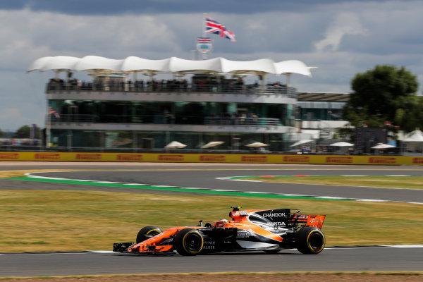 Silverstone, Northamptonshire, UK.  Friday 14 July 2017. Stoffel Vandoorne, McLaren MCL32 Honda. World Copyright: Zak Mauger/LAT Images  ref: Digital Image _54I4467