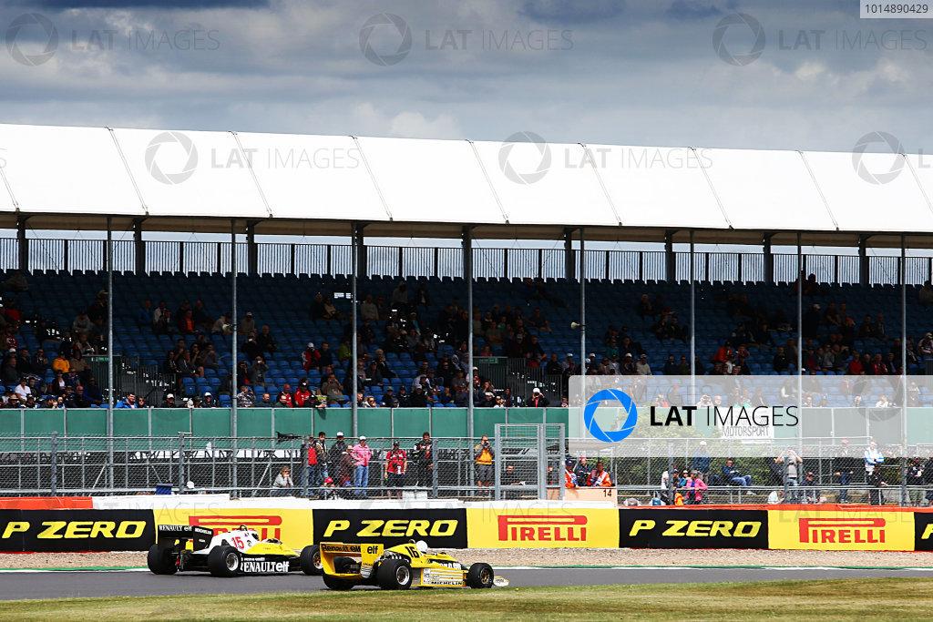 Silverstone, Northamptonshire, UK.  Friday 14th July 2017. Renault F1 Historic, Rene Arnoux and Franck Montagny (FRA)  World Copyright: JEP/LAT Images