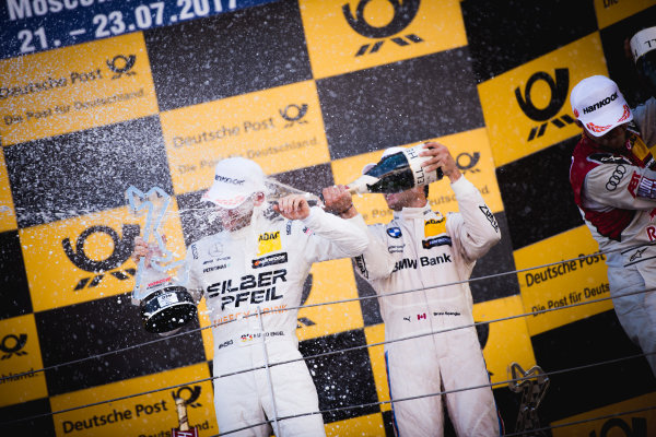 2017 DTM Round 5 Moscow Raceway, Moscow, Russia Sunday 23 July 2017. Podium: Maro Engel, Mercedes-AMG Team HWA, Mercedes-AMG C63 DTM and Bruno Spengler, BMW Team RBM, BMW M4 DTM World Copyright: Evgeniy Safronov/LAT Images ref: Digital Image SafronovEvgeniy_2017_DTM_MRW_San-198