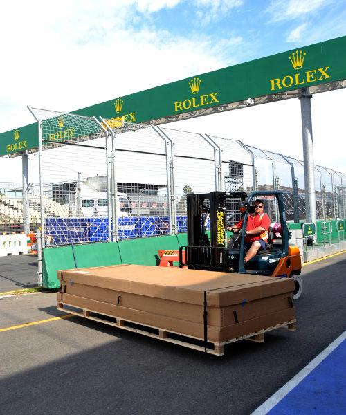 Freight on fork lift truck.Formula One World Championship, Rd1, Australian Grand Prix, Preparations, Albert Park, Melbourne, Australia, Monday 11 March 2013.