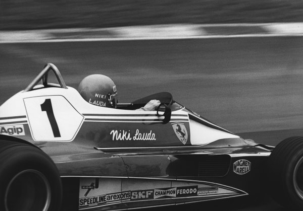 Jarama, Spain. 2nd May 1976.  Niki Lauda (Ferrari 312T2), 2nd position, action.  World Copyright: LAT Photographic.  Ref: B/W Print.