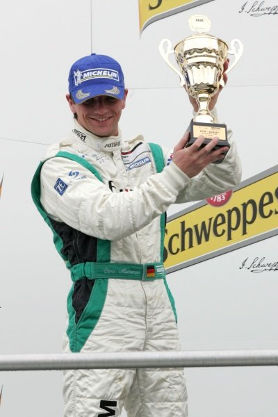 Chris Mamerow (GER) Mamerow Racing on the podium Porsche Cup, Rd 1, Hockenheim, Germany, 13 April 2008.