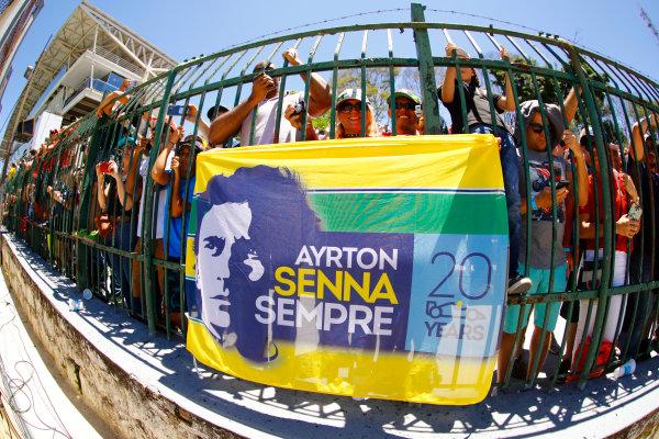 Interlagos, Sao Paulo, Brazil. Sunday 12 November 2017. Fans with an Aryton Senna flag. World Copyright: Steven Tee/LAT Images  ref: Digital Image _O3I0393