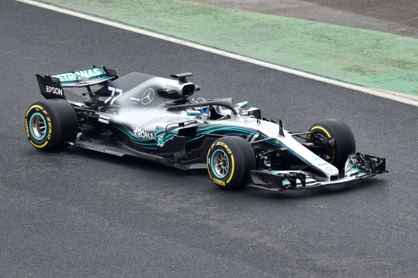 Mercedes-AMG F1 W09 EQ Power+ Launch and First Run Silverstone, England, 22 February 2018. Valtteri Bottas (FIN) Mercedes-AMG F1 W09 EQ Power. World Copyright: Simon Galloway/Sutton Images/LAT Images Photo ref: SUT_Mercedes_AMG_F_1567654