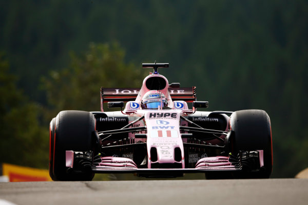 Spa Francorchamps, Belgium.  Friday 25 August 2017. Sergio Perez, Force India VJM10 Mercedes.  World Copyright: Andy Hone/LAT Images  ref: Digital Image _ONZ8702