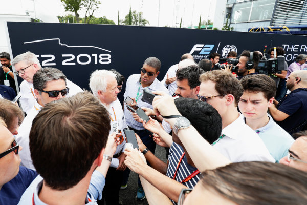 Autodromo Nazionale di Monza, Italy. Thursday 31 August 2017 Ross Brawn and Charlie Whiting talk to the media. Photo: Zak Mauger/FIA Formula 2 ref: Digital Image _56I5283