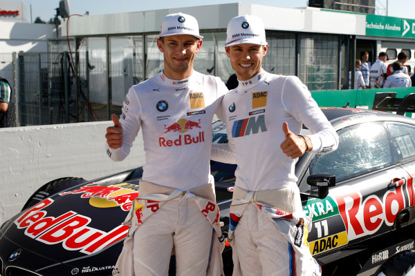 2017 DTM Round 9  Hockenheimring, Germany  Sunday 15 October 2017. Marco Wittmann, BMW Team RMG, BMW M4 DTM with the Polesitter Tom Blomqvist, BMW Team RBM, BMW M4 DTM  World Copyright: Alexander Trienitz/LAT Images ref: Digital Image 2017-DTM-HH2-AT1-0555
