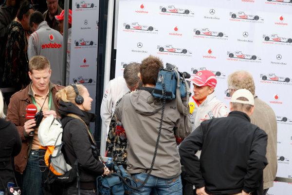 Spa Francorchamps, Spa, Belgium.4th September 2008.Heikki Kovalainen, McLaren MP4-23 Mercedes talks to TV crews.World Copyright: Glenn Dunbar/LAT Photographicref: Digital Image _O9T0437