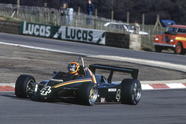 Silverstone, England. 20th March 1983. Rd 1.Stefan Bellof, Maurer MM83-BMW, 4th position, action.World Copyright: LAT Photographic.