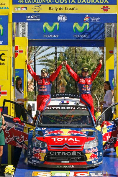 Round 11, Rally of Spain, Catalunya2nd-5th October 2008Sebastien Loeb, Daniel Elena, Citroen, podiumWorldwide Copyright: McKlein/LAT