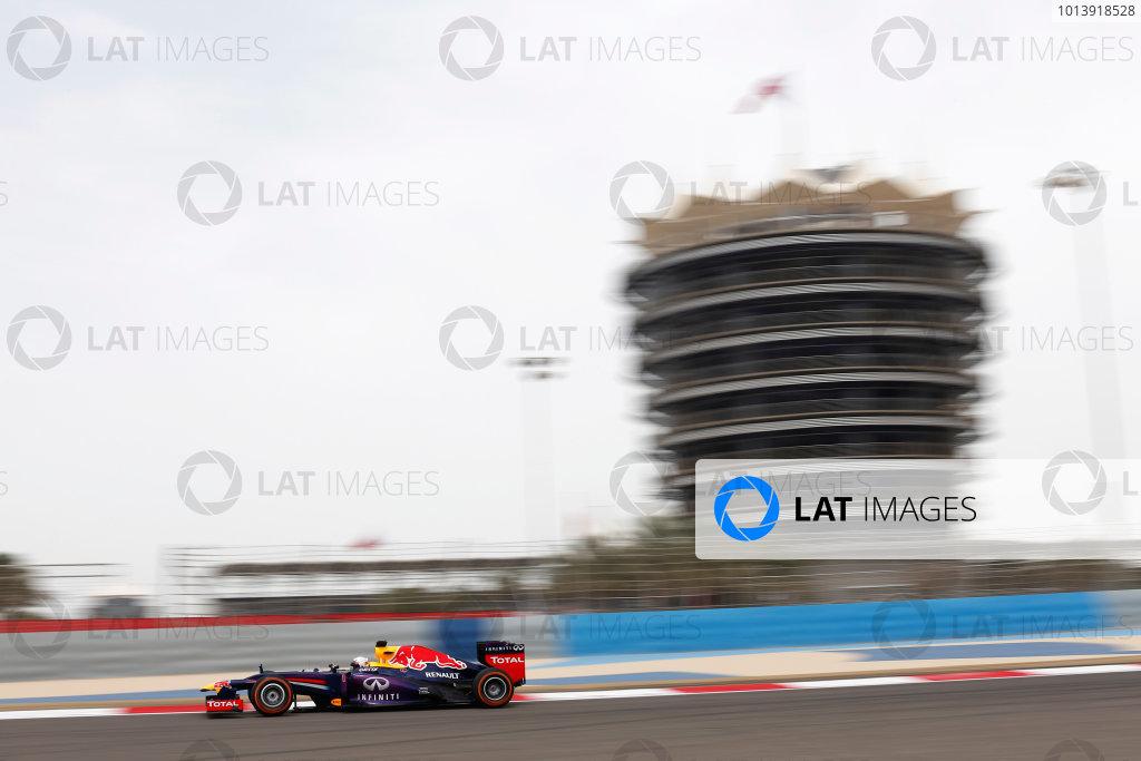 Bahrain International Circuit, Sakhir, Bahrain Friday 19th April 2013 Sebastian Vettel, Red Bull RB9 Renault World Copyright: Andrew Ferraro/LAT Photographic ref: Digital Image _79P9370