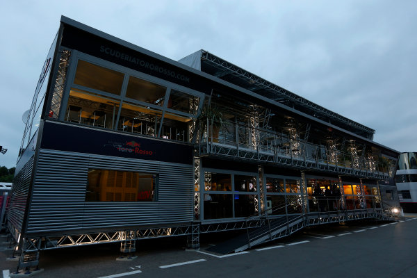 Circuit de Catalunya, Barcelona, Spain 10th May 2013 The Toro Rosso side of the Red Bull Energy Station. World Copyright: Charles Coates/LAT Photographic ref: Digital Image _N7T3368