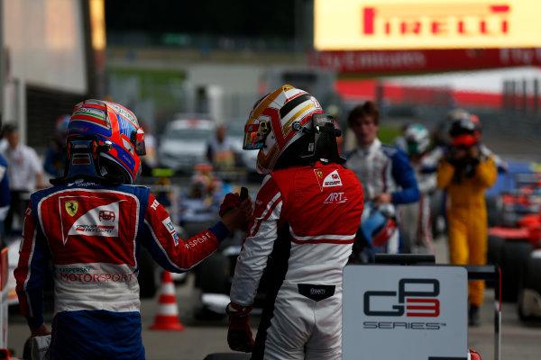 2016 GP3 Series Round 2 Red Bull Ring, Spielberg, Austria. Saturday 2 July 2016. Antonio Fuoco (ITA, Trident) & Charles Leclerc (FRA, ART Grand Prix)  Photo: Sam Bloxham/GP3 Series Media Service. ref: Digital Image _SBB8099