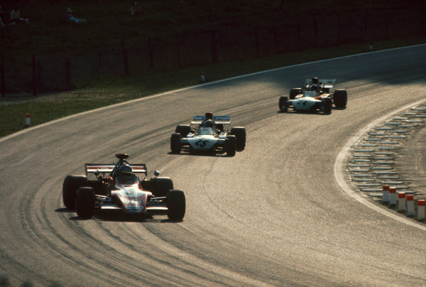 Osterreichring, Zeltweg, Austria. 11-13th August 1972.  Ronnie Peterson (March 721G-Ford), 12th position, leads Mike Hailwood (Surtees TS9-Ford), 4th position and Tim Schenken (Surtees TS9B-Ford), 11th position.  Ref: 72AUT11. World Copyright: LAT Photographic