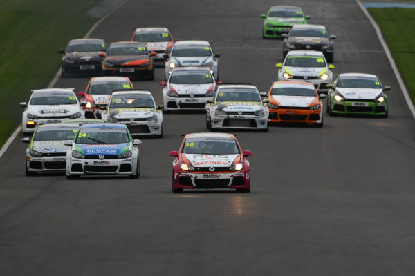 2016 VW Cup Championship, Donington Park 10th-11th September 2016 Start of the race, Toby Davis (GBR)  leads World Copyright. Jakob Ebrey/LAT Photographic