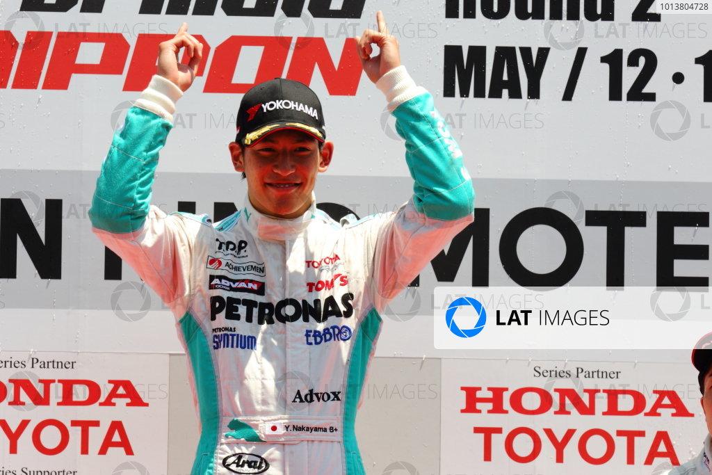 Twin Ring Motegi, Motegi, Japan12th - 13th May 2012. Rd 4.Winner Yuichi Nakayama ( #36 PETRONAS TEAM TOM'S )  podiumWorld Copyright: Yasushi Ishihara/LAT Photographic.Ref:  2012JF3_R3&4_019