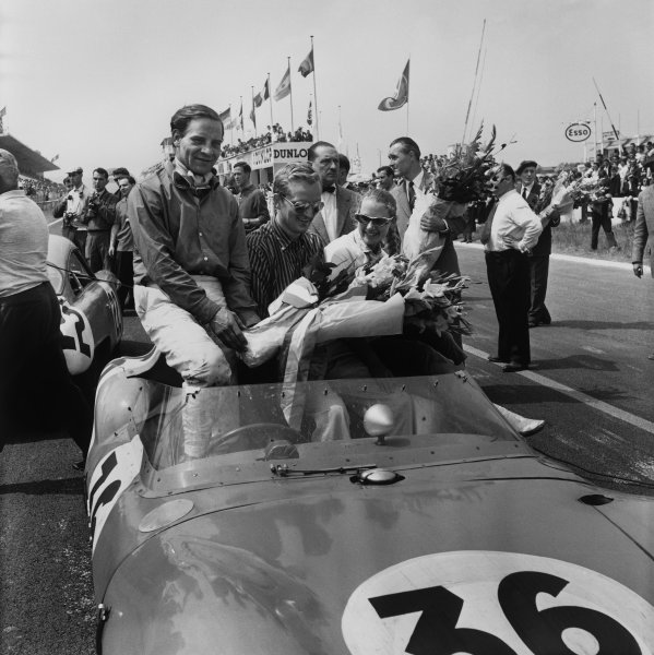 Reims, France. 5th July 1958 Pete Lovely/Innes Ireland (Lotus Eleven Climax ), 1st in the 1300cc Class and 8th position overall, portrait. World Copyright: LAT Photographic Ref:  1659.