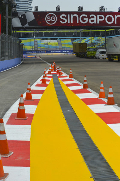 Cones on the pit lane exit