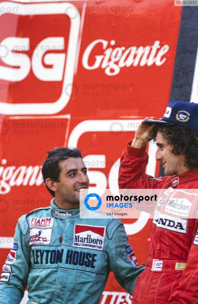 Ivan Capelli and Alain Prost.