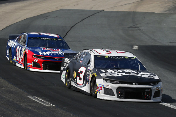 #3: Austin Dillon, Richard Childress Racing, Chevrolet Camaro BEHR ULTRA and #24: William Byron, Hendrick Motorsports, Chevrolet Camaro Liberty University