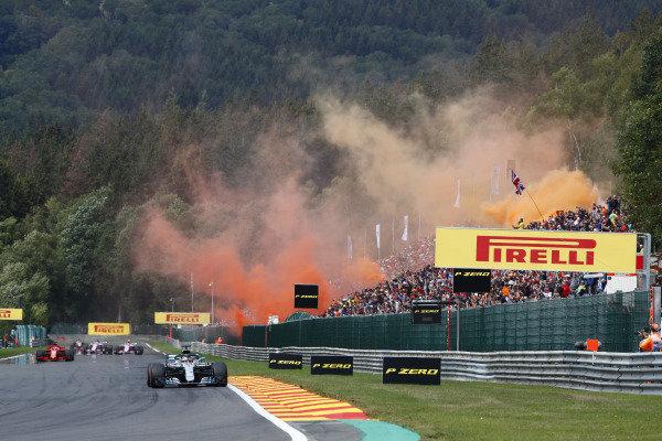 Lewis Hamilton, Mercedes AMG F1 W09, leads Sebastian Vettel, Ferrari SF71H, on the formation lap.