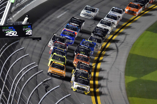 #17: David Gilliland, David Gilliland Racing, Ford F-150 Black's Tire and #26: Tyler Ankrum, GMS Racing, Chevrolet Silverado Liuna!