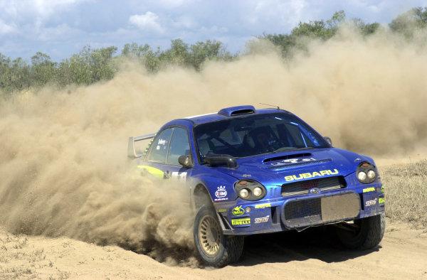 2001 World Rally Championship.Nairobi, Kenya. July 20-22, 2001Petter Solberg kicks up the dust in section 6.Photo: Ralph Hardwick/LAT