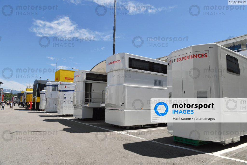 F1 Experiences trucks and motorhome at Formula One World Championship, Rd5, Spanish Grand Prix, Practice, Barcelona, Spain, Friday 12 May 2017.