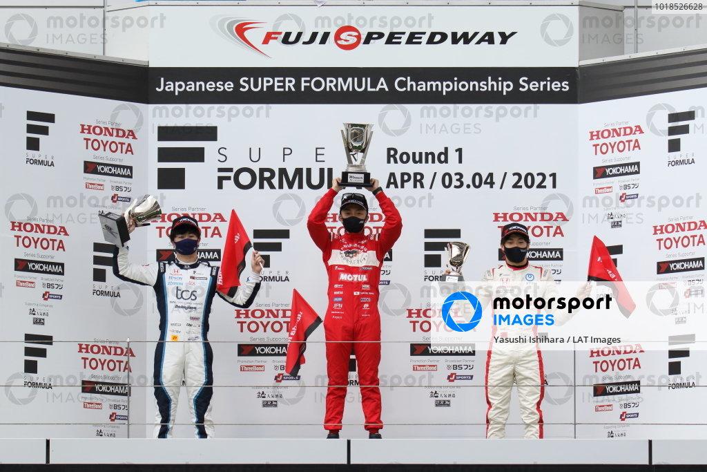Winner Tomoki Nojiri ( #16 TEAM MUGEN, Dallara SF19 Honda), Toshiki Oyu ( #64 TCS NAKAJIMA RACING, Dallara SF19 Honda) 2nd position and Nirei Fukuzumi  ( #5 DOCOMO TEAM DANDELION RACING, Dallara SF19 Honda) 3rd position, celebrate on the podium