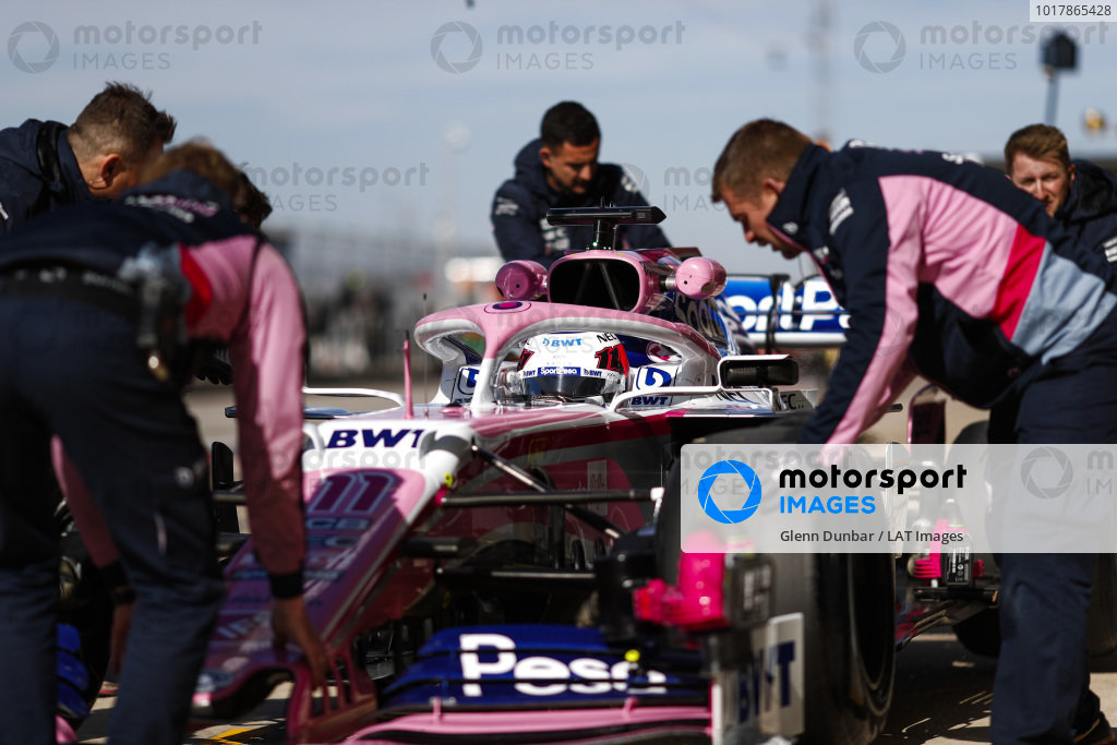 Sergio Perez, Racing Point RP19, in the pit lane during practice