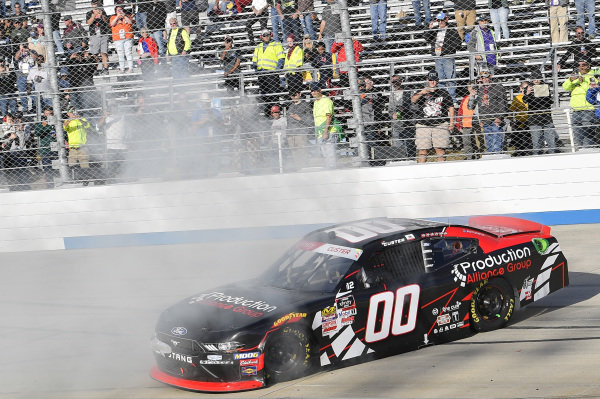 #00: Cole Custer, Stewart-Haas Racing, Ford Mustang Production Alliance Group, celebrates after winning.