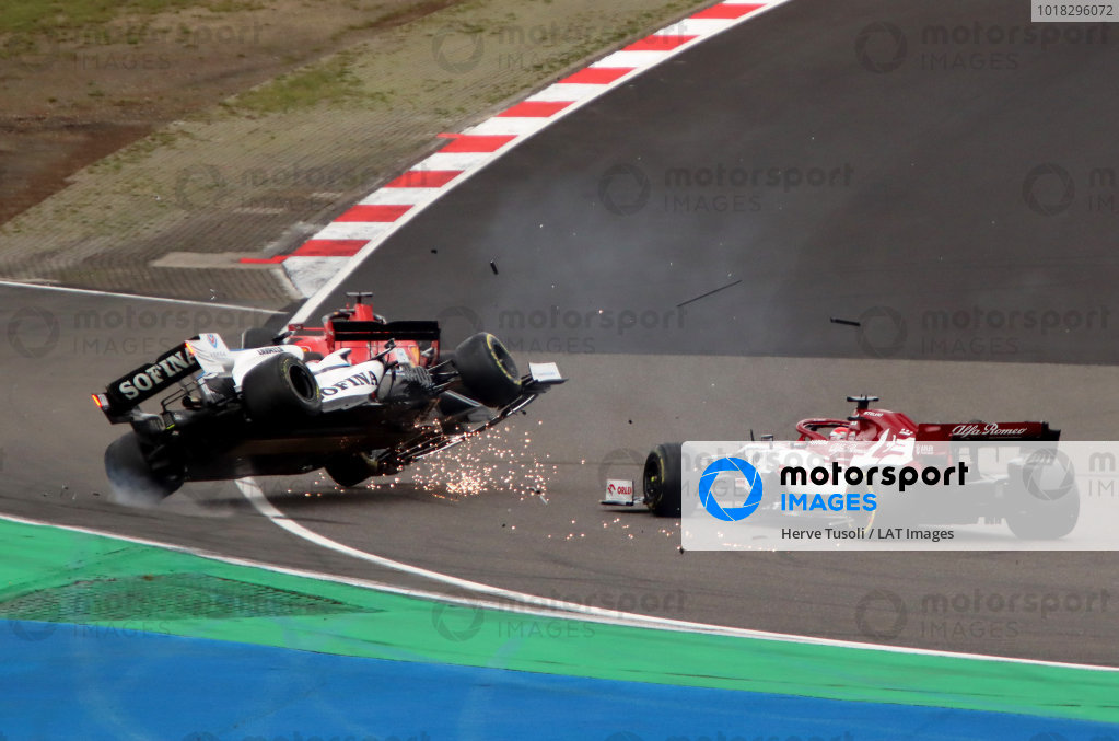 George Russell, Williams FW43, is aunched into the air after contact with Kimi Raikkonen, Alfa Romeo Racing C39. Raikkonen received a time penalty for causing the incident. Credit: Herve Tusoli/Motorsport Images
