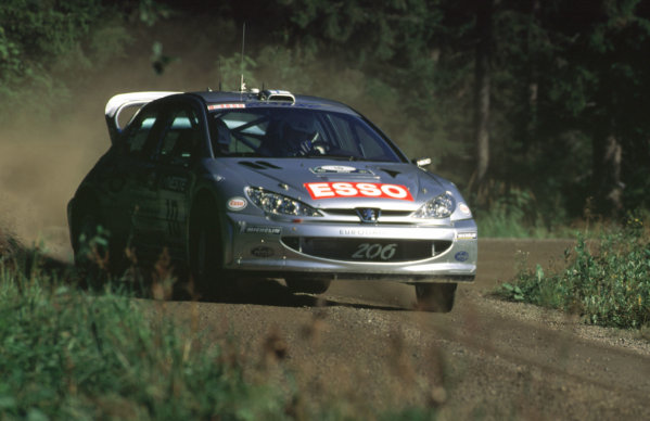WRC Neste Rally of Finland 200017th - 20th August 2000. Rd 9/13.Rally winner Marcus Gronholm's Peugeot in action.Photo:McKlein/LATRef 35mm A04