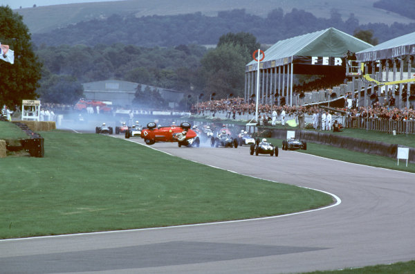 2000 Goodwood Motor Circuit Revival. Goodwood, England. 15th - 17th September 2000. Nigel Corner is catapulted out of his Ferrari Dino at the start of the race, action.  World Copyright: Jeff Bloxham / LAT Photographic. Ref:  FoS04.