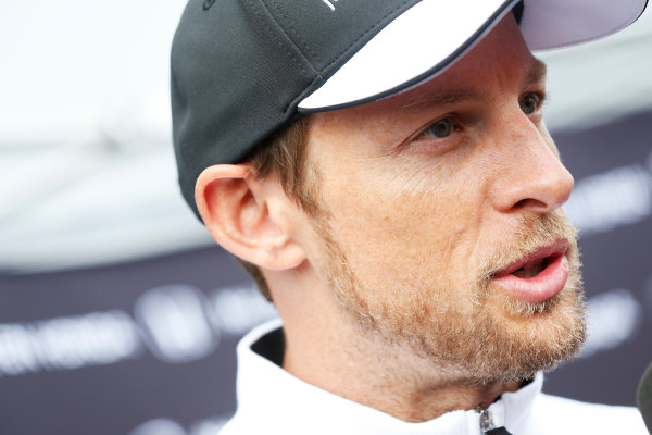 Red Bull Ring, Spielberg, Austria. Thursday 18 June 2015. Jenson Button, McLaren, talks to the press. World Copyright: Alastair Staley/LAT Photographic. ref: Digital Image _R6T6799