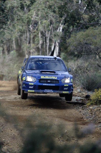 2003 World Rally ChampionshipRally Australia. 3rd - 7th September 2003Rally winner Petter Solberg/Philip Mills (Subaru Impreza WRC 2003), action.World Copyright: McKlein/LAT Photographicref: 35mm transparency