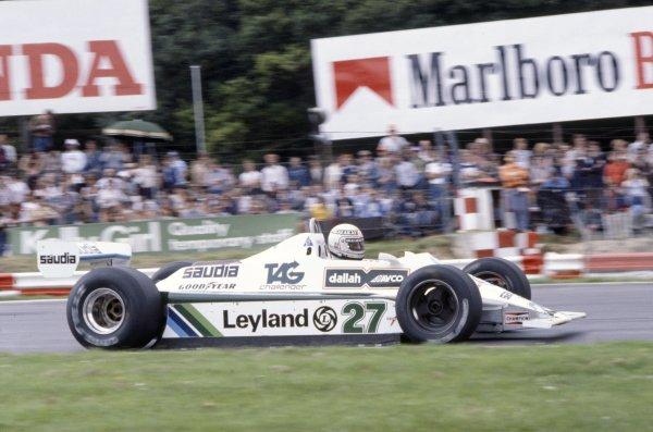 1980 British Grand Prix.Brands Hatch, Great Britain. 11-13 July 1980.Alan Jones (Williams FW07B-Ford Cosworth), 1st position.World Copyright: LAT PhotographicRef: 35mm transparency 80GB21