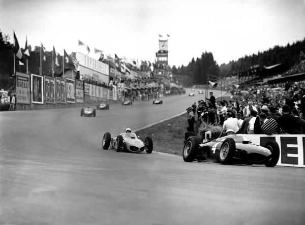 Spa-Francorchamps, Belgium. 16-18 June 1961.Phil Hill (Ferrari 156), 1st position, leads Olivier Gendebien (Ferrari 156), 4th position, into Eau Rouge, action.World Copyright: LAT PhotographicRef: C62129